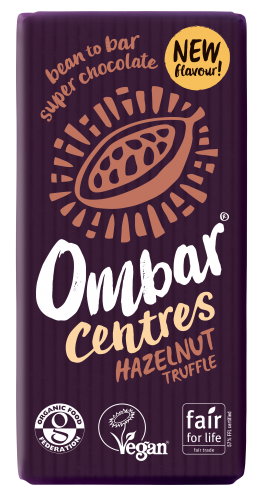 Ombar Centres Hazelnut Truffle Pack Shot with ping 35g